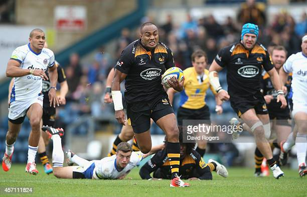 Sailosi Tagicakibau of Wasps breaks clear to score a try during the Aviva Premiership match between Wasps and Bath at Adams Park on October 12 2014...