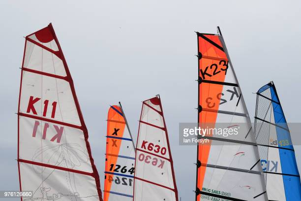 Sails on land yachts are seen as competitors prepare to race during the National Land Sailing regatta held on Coatham Sands on June 16, 2018 in...