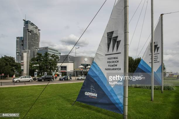 Sails with the festival logo in front of Gdynia Waterfront Centre Multikino are seen in Gdynia, Poland on 12 September 2017 Polish Film Festival is...