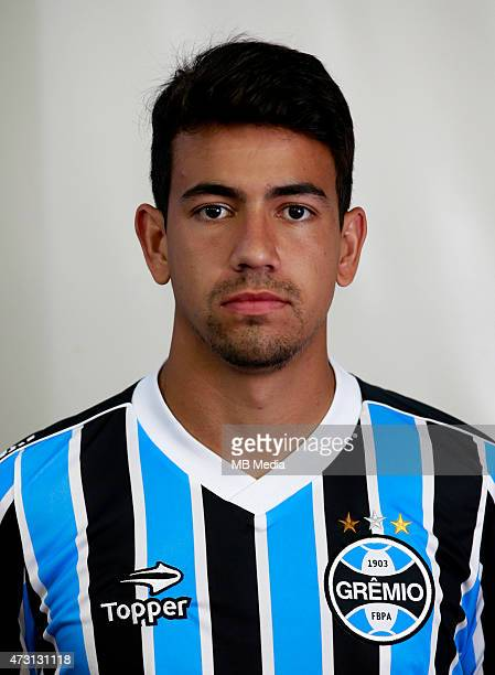 Saimon Tormen of Gremio FootBall Porto Alegrense poses during a portrait session on August 14 2014 in Porto AlegreBrazil