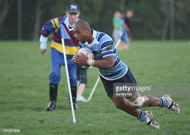 Saimone Makaheli of the Leopards scores a try during the Fox Memorial Championship match between the Otahuhu Leopards and Howick Hornets at Paparoa...