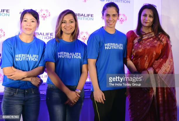 Saina Nehwal Mary Kom Heena Sidhu and Poonam Dhillon at a Felicitation function of BWF World Superseries 2017 in New Delhi