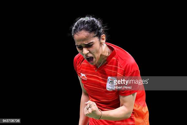 Saina Nehwal of India celebrates during the Badminton Mixed Team gold medal match against Soniia Cheah of Malaysia on day five of the Gold Coast 2018...