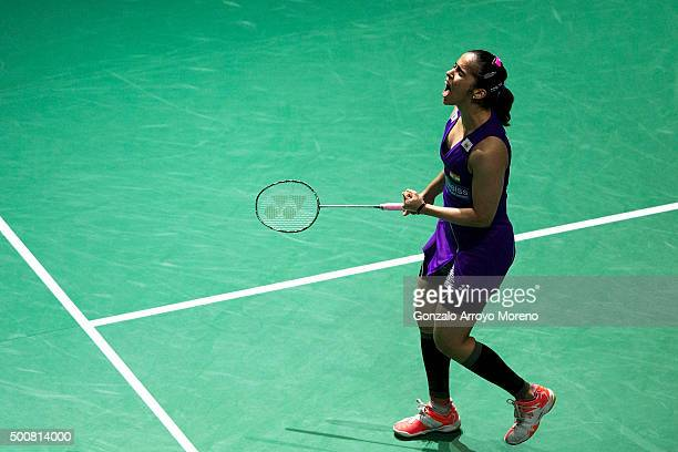 Saina Nehwal of India celebrates in the Women's Singles match against Carolina Marin of Spain during day two of the BWF Dubai World Superseries 2015...