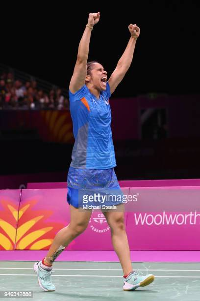 Saina Nehwal of India celebrates match point against Venkata Pusarla of India during the women's singles final during Badminton on day 11 of the Gold...