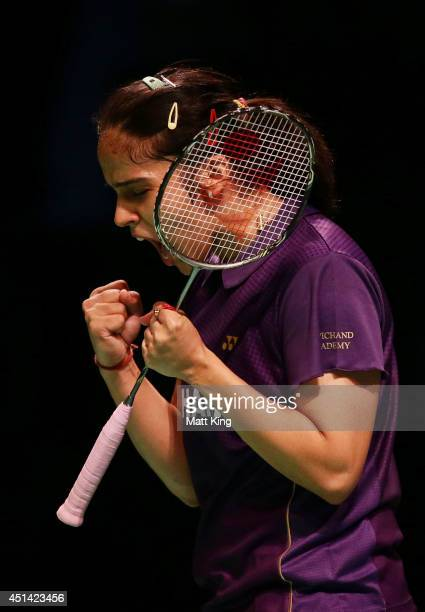 Saina Nehwal of India celebrates winning the Womens Singles Final against Carolina Marin of Spain during the Australian Badminton Open at Sydney...