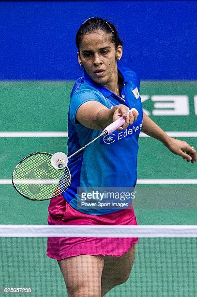 Saina Nehwal of India competes against Sayaka Sato of Japan in their Women's Singles Round 2 match during the YONEXSUNRISE Hong Kong Open Badminton...