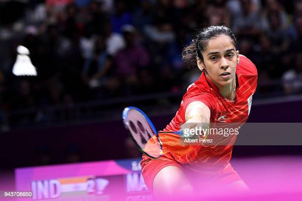 Saina Nehwal of India competes in the Badminton Mixed Team gold medal match against Soniia Cheah of Malaysia on day five of the Gold Coast 2018...