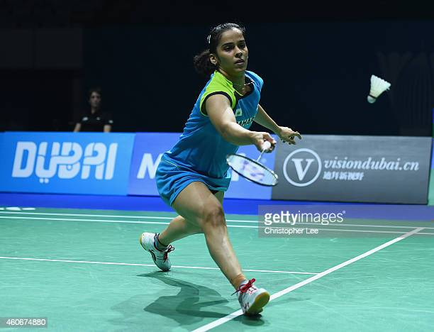 Saina Nehwal of India in action against Bae Yeon Ju of Korea in the Womens Singles during the BWF Destination Dubai World Superseries Finals day...