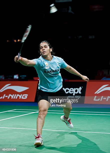 Saina Nehwal of India in action during the LiNing BWF World Badminton Championships at Ballerup Super Arena on August 26 2014 in Copenhagen Denmark
