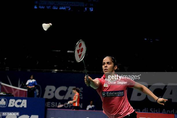 Saina Nehwal of India plays a shot during the 2016 Indonesia Open match against Fitriani of Indonesia on June 2 2016 in Jakarta Indonesia