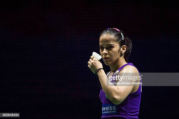 Saina Nehwal of India reacts in the Womens Singles match against Tai Tzu Ying of Chinese Taipei during day three of the BWF Dubai World Superseries...