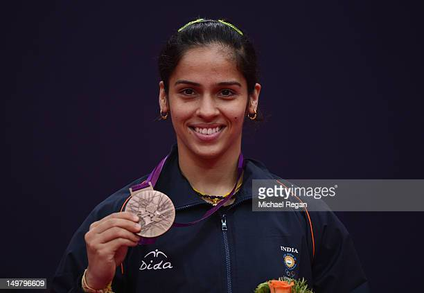 Saina Nehwal of India stands with her Bronze medal following the Women's Singles Badminton Gold Medal match on Day 8 of the London 2012 Olympic Games...