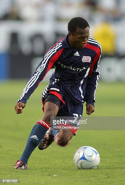 Sainey Nyassi of the New England Revolution plays the ball on the attack against the Los Angeles Galaxy in the first half of their MLS match at the...