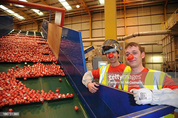 Sainsbury's and Comic Relief are helping supporters of Red Nose Day to do their bit for the environment at Ball Young Limited on April 16 2013 in...