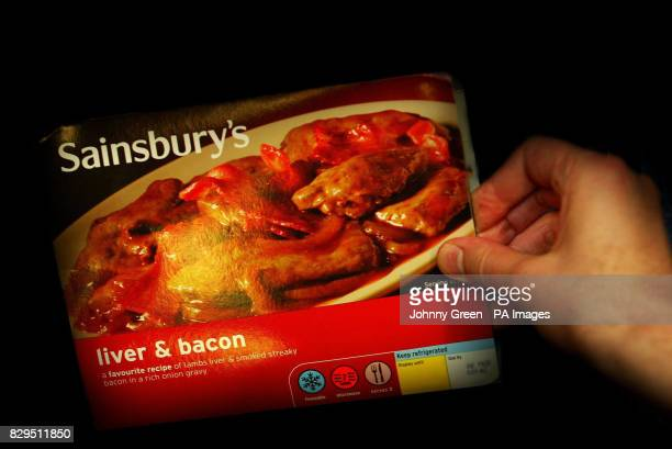 A Sainsbury's Liver and Bacon readymade meal following an urgent warning which was issued by the Food Standards Agency after potentially...