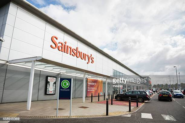 sainsbury's supermarket - entrance sign stock photos and pictures