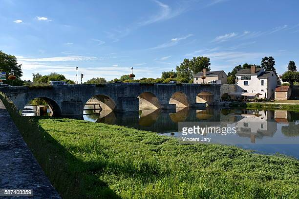 saint aignan bridge with cher river in france - sologne stock photos and pictures