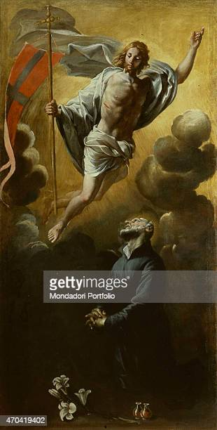 Saint Andrew Avellino contemplates the Risen Christ by Giovanni Lanfranco 16381646 17th Century oil on canvas Italy Campania Naples Church of the...