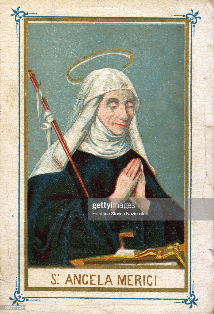 Saint Angela Merici (March 21 1474 - January 27 1540) from Desenzano del Garda, founded the congregation of the Ursulines (the Company of St. Ursula) in Brescia in 1535. It was canonized in 1807, Festival May 31. Chromolithographic imagery 1900.