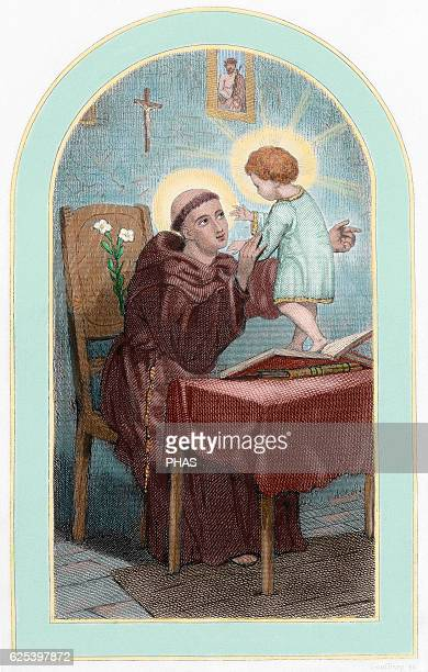 Saint Anthony of Padua Portuguese franciscan priest Colored engraving 19th century