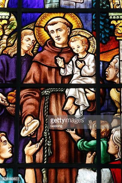 Saint Anthony stained glass in Imaculada Conceiçaon da Mae de Deus s church Salvador