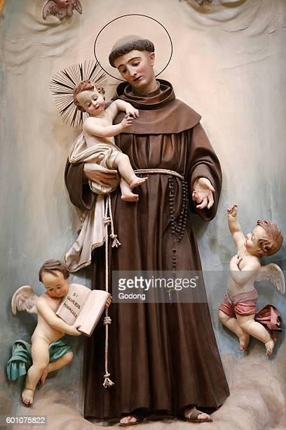 Saint Antony Statue in the Chiesa matrice di S Salvatore Poggiardo Italy