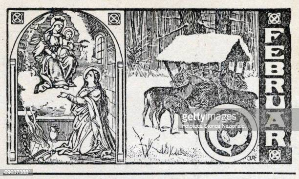 Saint Apollonia , fallow deer in the forest under the snow, zodiac sign fish. Header sheet for the month February in a German almanac, woodcut,...