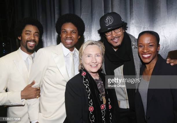 """Saint Aubyn, Shawn Bowers, Hillary Clinton, Edgar Godineaux and Esther Antoine pose backstage at the hit musical """"Ain't Too Proud To Beg"""" on Broadway..."""