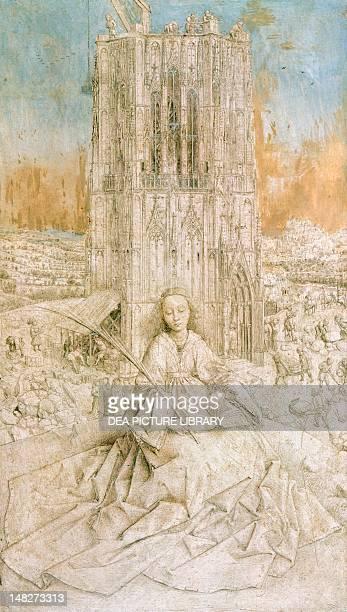 Saint Barbara by Jan van Eyck Antwerp Koninklijk Museum Voor Schone Kunsten