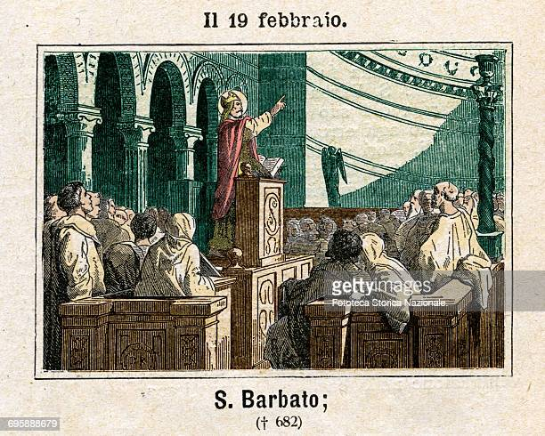 Saint Barbato bishop of Benevento, venerated as a saint by the Catholic Church, exhorts to faith and strength the Lombards besieged by Emperor...