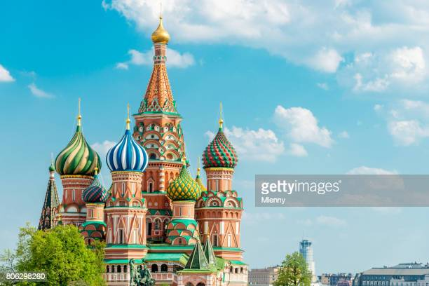 saint basil cathedral moscow in summer copy space russia - russian culture stock pictures, royalty-free photos & images