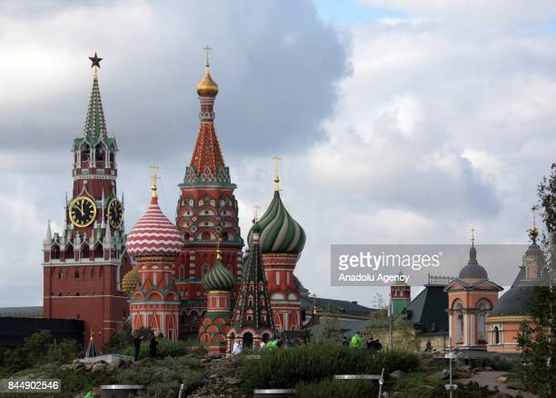 Saint Basil's Cathedral and Spasskaya Tower are seen from Zaryadye Park near the Moscow Kremlin in Moscow Russia on September 09 2017
