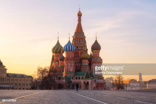 saint basil's cathedral during sunrise at red square in moscow,russia. - moscow russia stock photos and pictures
