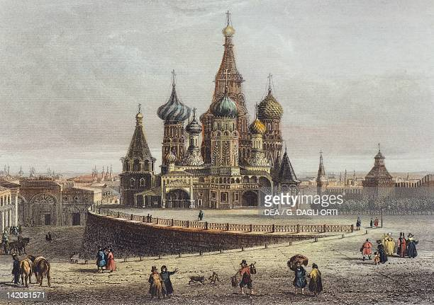 Saint Basil's Cathedral in Moscow Russia 19th century Engraving