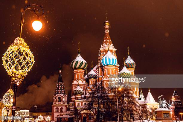 saint basil's cathedral on red square, moscow - orthodox christmas stock pictures, royalty-free photos & images