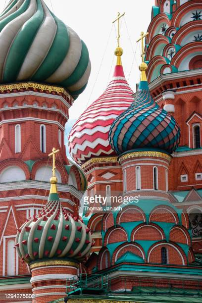 saint basil's cathedral with it's famous colorful domes - state kremlin palace stock pictures, royalty-free photos & images