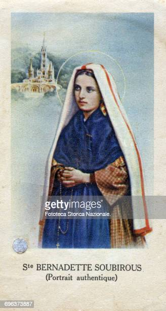 Saint Bernadette Soubirous authentic portrait with relic Our Lady appeared 18 times in 1858 Above is depicted the Sanctuary of Lourdes Chromos France...