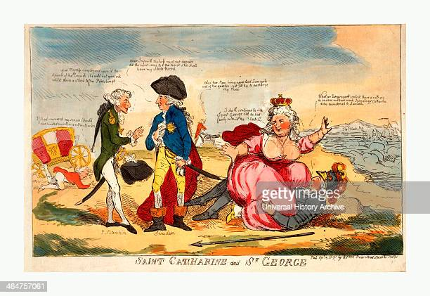 Saint Catharine And St George Engraving 1791 Potemkin Addressing A Man Identified As Sweden With His Back To Catherine Ii As She Suggestively Mounts...