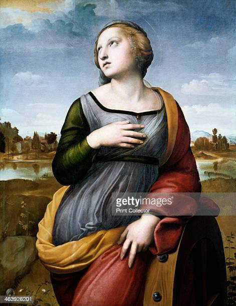'Saint Catherine of Alexandria' c1507 Saint Catherine is shown leaning on the wheel upon which she was condemned to die but which miraculously broke