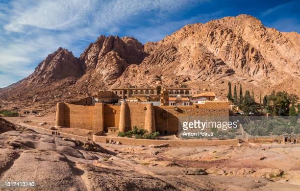 saint catherine's monastery at mount sinai at sunrise. egypt - mt sinai stock pictures, royalty-free photos & images