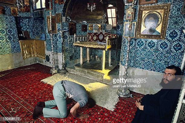 Saint Catherine's monastery in Sinai Egypt The chapel of the Ardent Bush prayer of an Orthodox monk and a Muslim