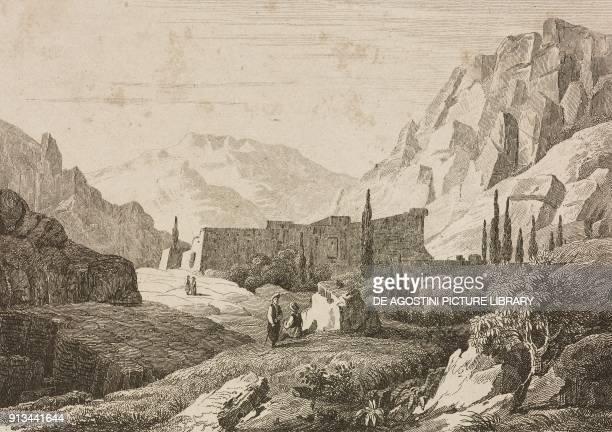 Saint Catherine's Monastery Mount Sinai Egypt engraving by Fleury and Chollet from Arabie by Noel Desvergers avec une carte de l'Arabie et note by...