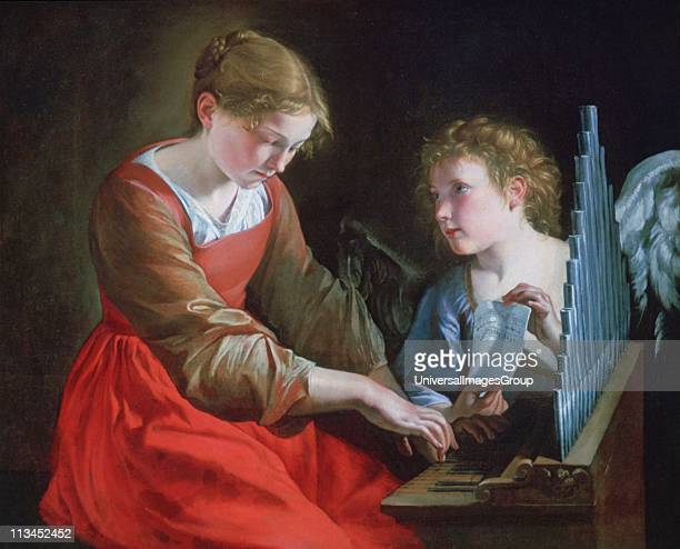 Saint Cecilia and an Angel' c1610 Cecilia patron saint of music sits palying an organ while the angel holds her music Orazio Gentileschi Italian...