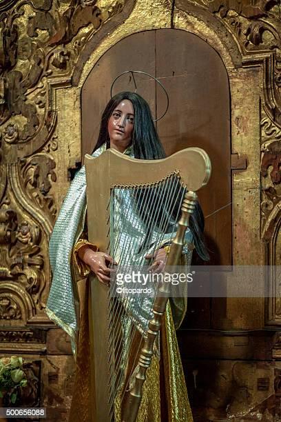 saint cecilia in oaxaca cathedral - santa cecilia fotografías e imágenes de stock