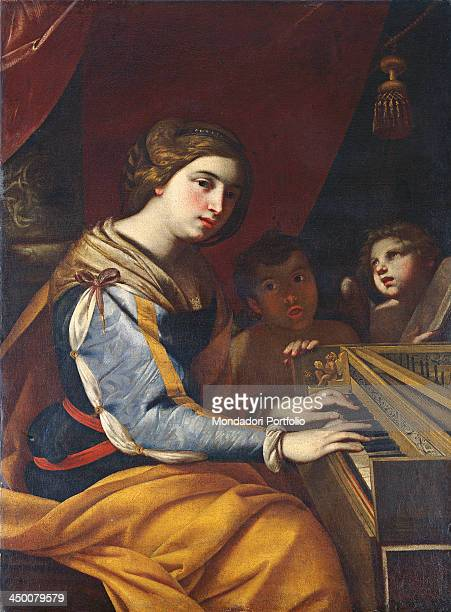 Saint Cecilia patron of musicians by Niccolò De Simone 17th Century oil on canvas 100 x 72 cm