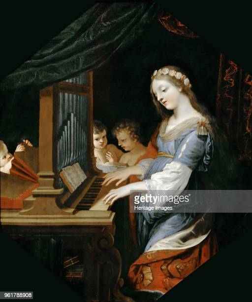 Saint Cecilia playing the organ Found in the Collection of Musée du Louvre Paris