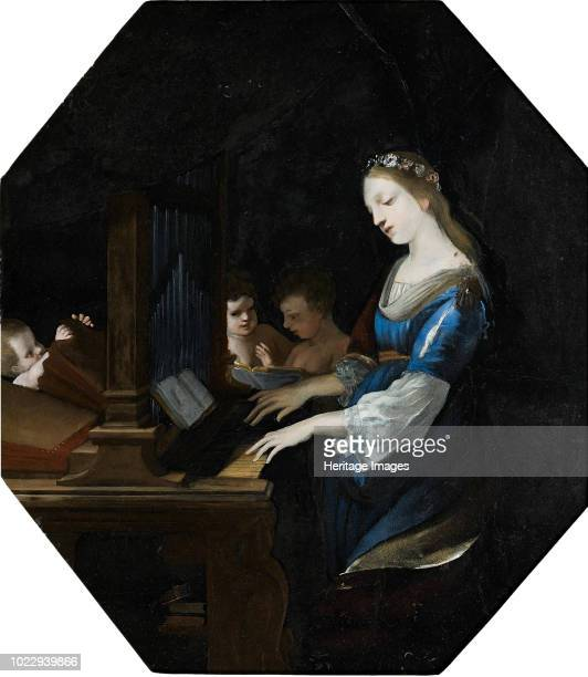 Saint Cecilia playing the organ Private Collection