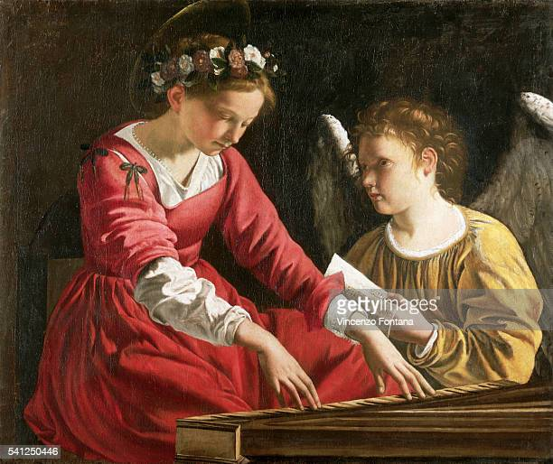Saint Cecilia Playing the Spinet with Angel by Orazio Gentileschi