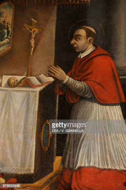 Saint Charles Borromeo in prayer painting preserved in the church of Saint Charles Borromeo Sessa Aurunca Campania Italy